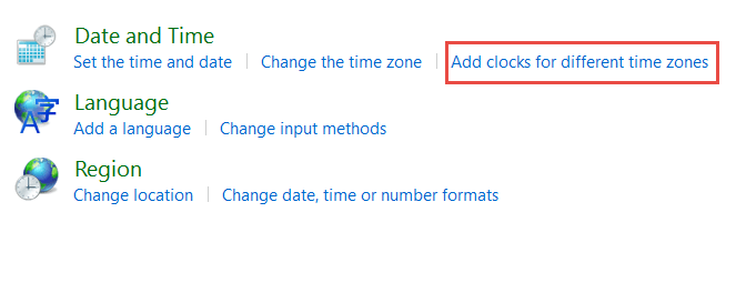 How to Set Multiple Clocks for different time zones in Windows 10