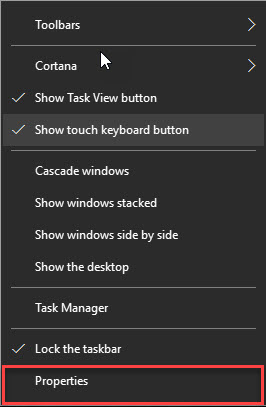 Taskbar Propertoes How to change Taskbar Program Icons Size - Windows 10 taskbar