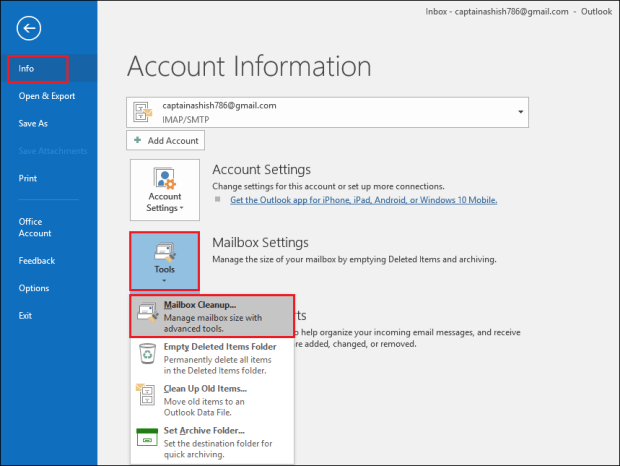 click Mailbox Cleanup How to Compress or Compact Archive PST File in Outlook – Advance Guide