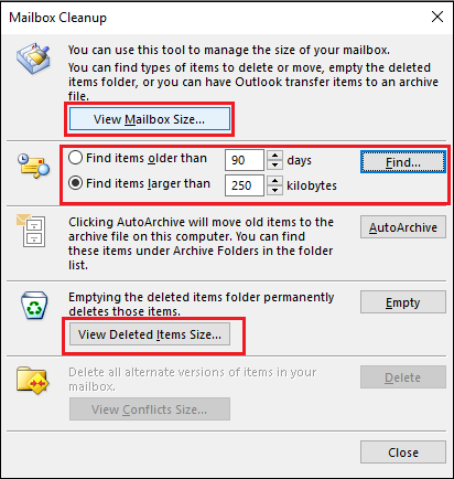 select desired options How to Compress or Compact Archive PST File in Outlook – Advance Guide