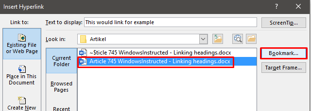 Linking from one Word Document to a place in another Word Document
