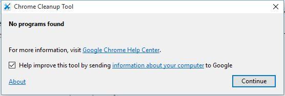 Menggunakan Chrome Cleanup Tool