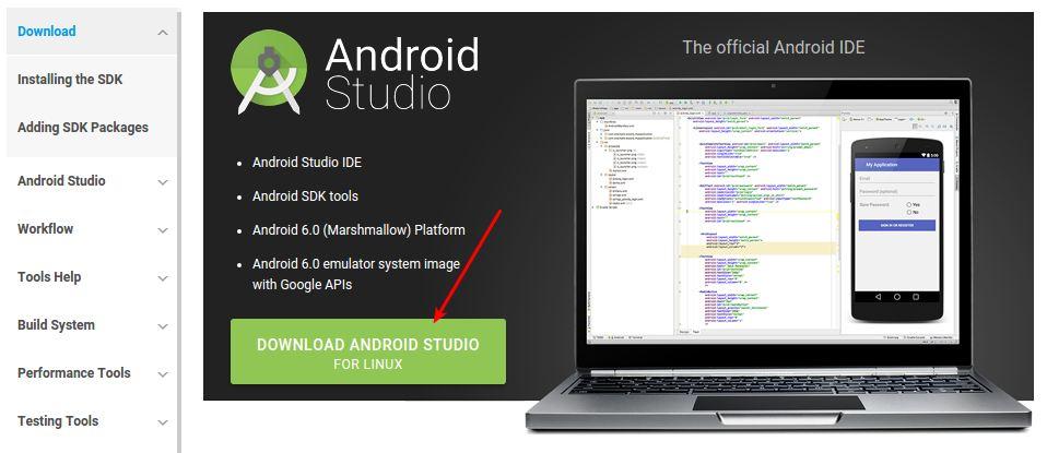 Mendownload Android Studio Untuk Ubuntu