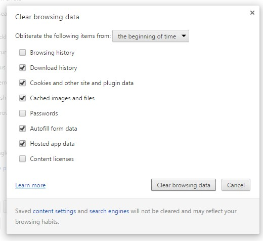 Menghapus Browsing Data di Google Chrome