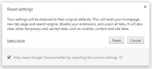 Cara mereset Google Chrome
