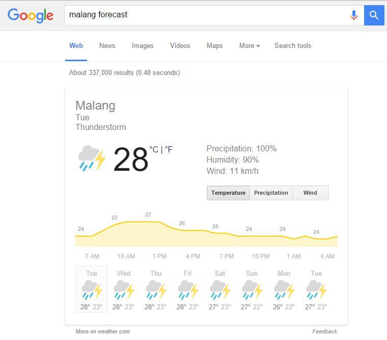 Cara menampilkan prakiraan cuaca di Google
