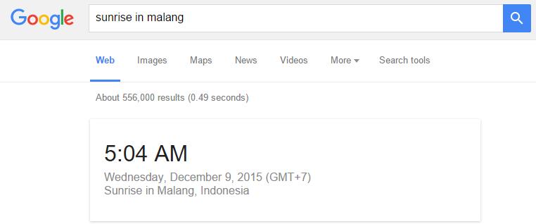 Cara mengecek terbitnya matahari di Google