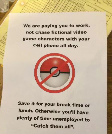 Pengumuman Pelarangan Pokemon Go Di Perusahaan