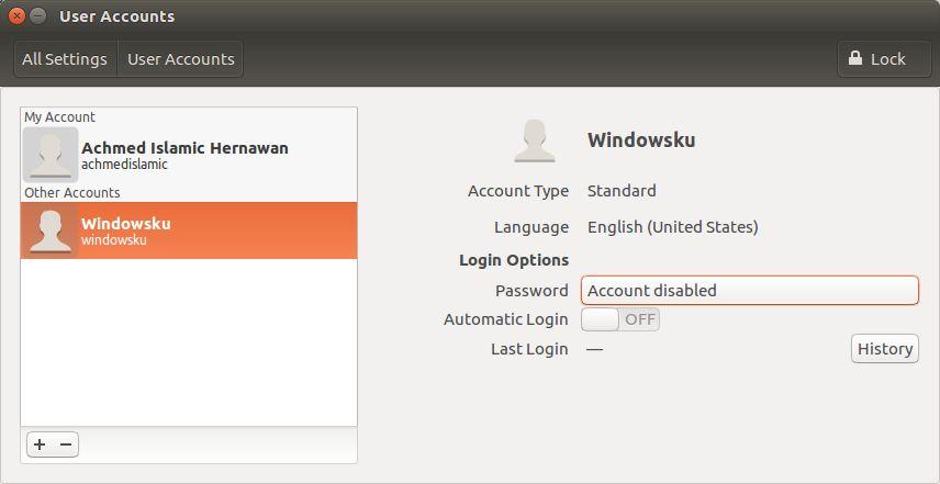 Menambah Password Untuk User Account Baru