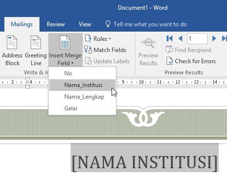 Mereferensikan Kolom Excel Di Dokumen Word