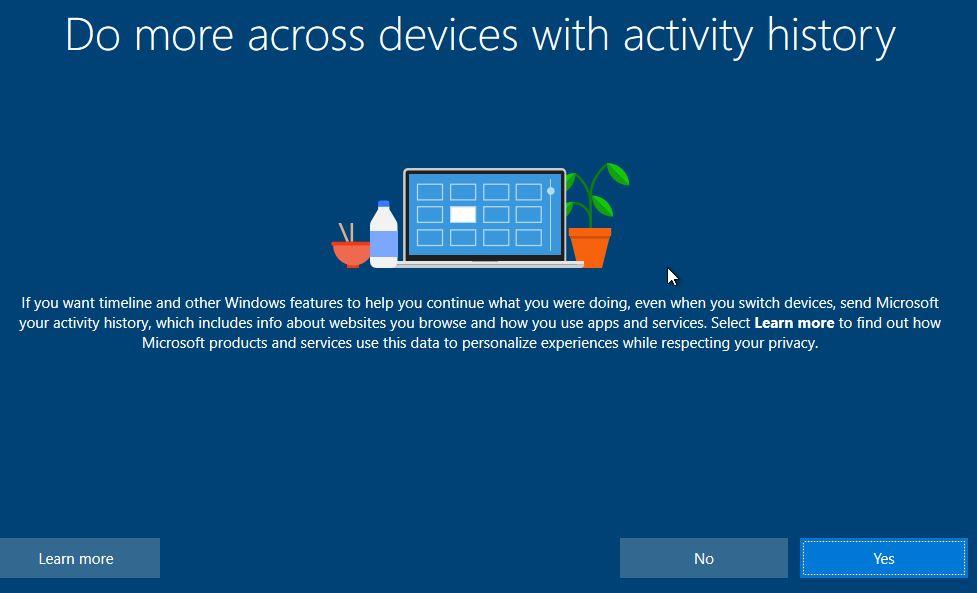 Activity History Instalasi Windows 10