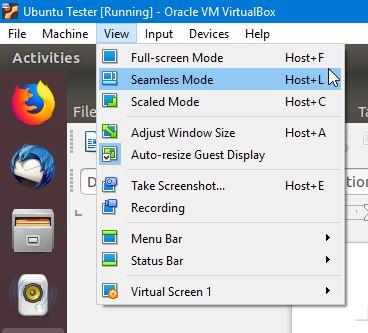Menu View Ubuntu Virtualbox