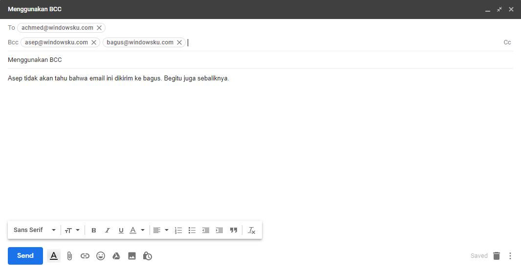 Menggunakan Bcc Email