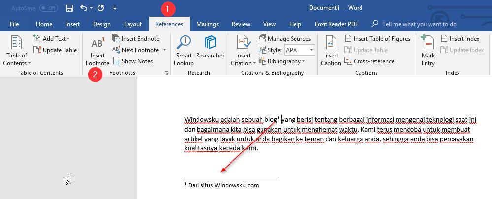 Catatan Kaki Footnote Word