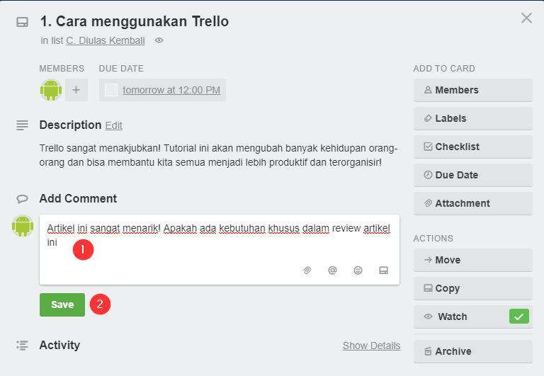 Menambah Komentar Card Trello