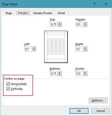 Custom Margins Excel