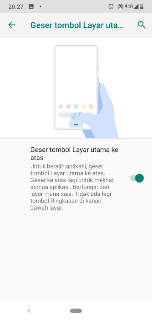 Aktifkan Geser Tombol Layar Utama Android