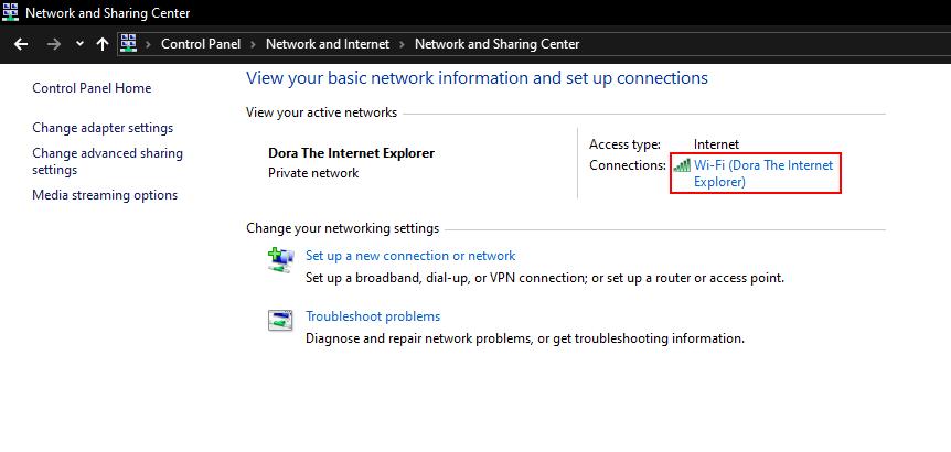Network Status Nama Wifi Windows 10