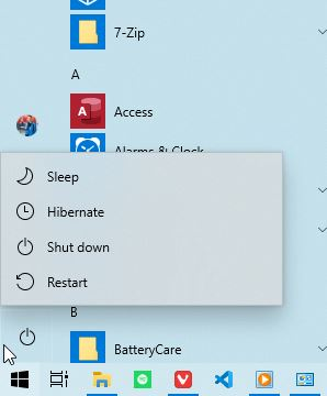 Power Button Windows 10