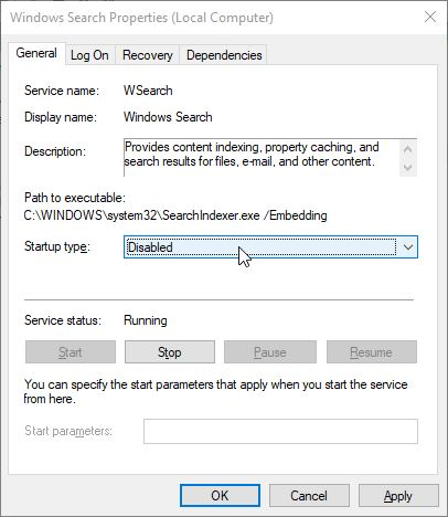 Services Windows Search