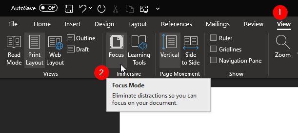 Tombol Focus Mode Word