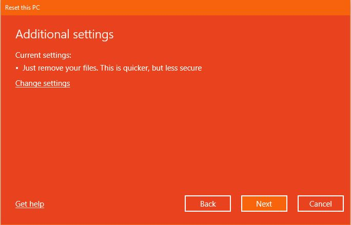 Additional Settings Reset This Pc Windows 10