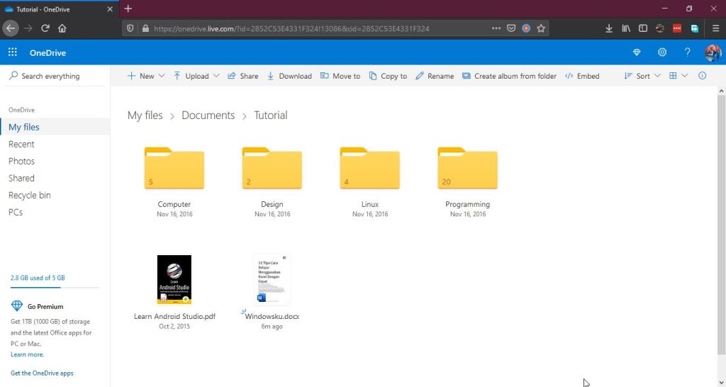 File Folder Di Onedrive Web