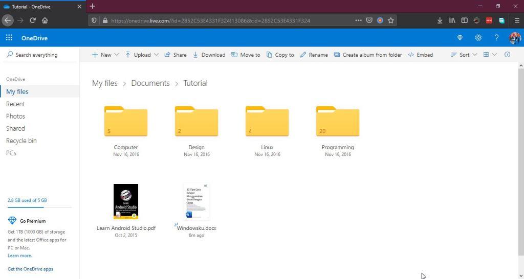 File Folder Di Onedrive Web