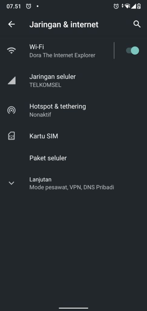 Setelan Jaringan Internet Android