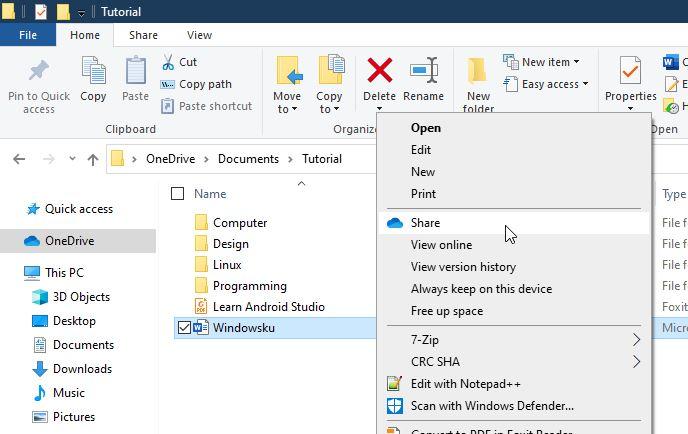 Berbagi File Folder Onedrive Windows