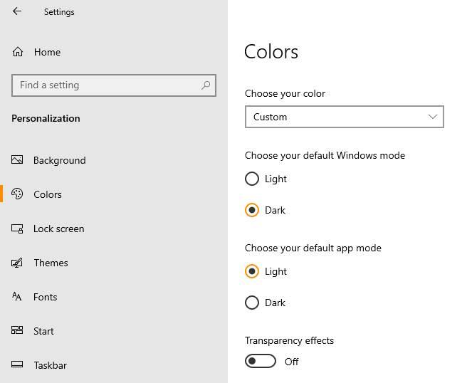 Opsi Color Custom Windows