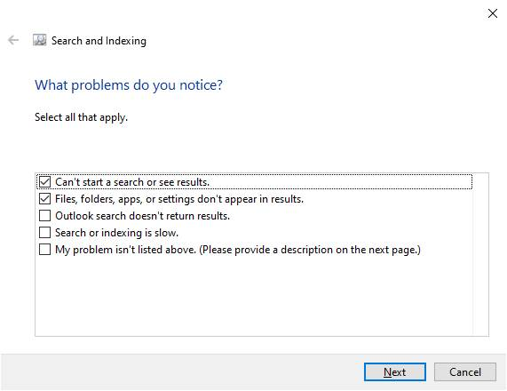 Search Indexing Troubleshooter Windows
