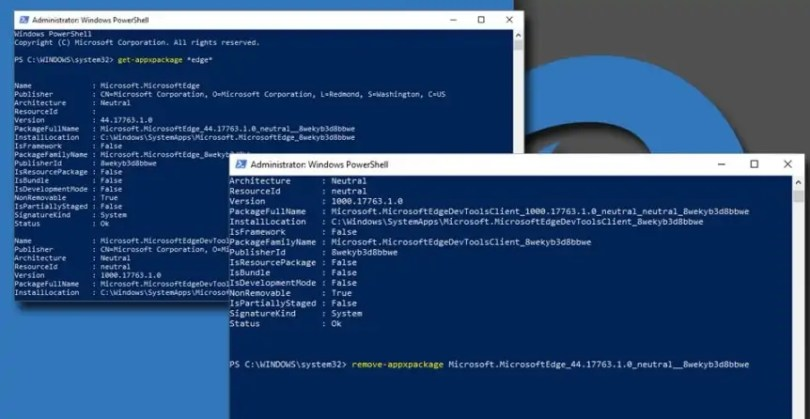 Powershell to Uninstall Microsoft Edge