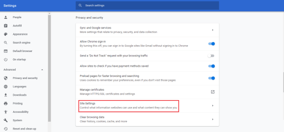 chrome site settings