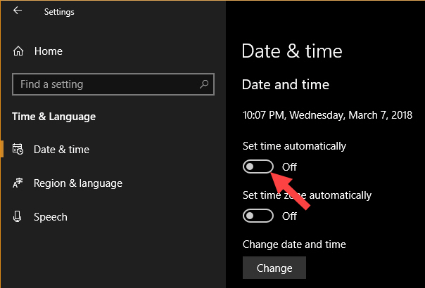 "Turn off ""Set time automatically"" option"