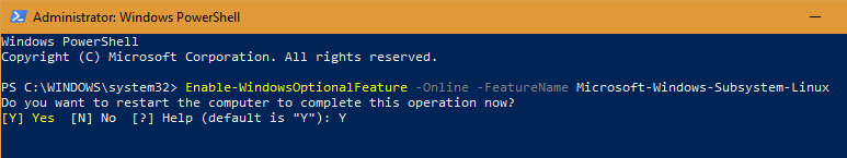 Install Linux Subsystem Windows 10 - Confirm Action
