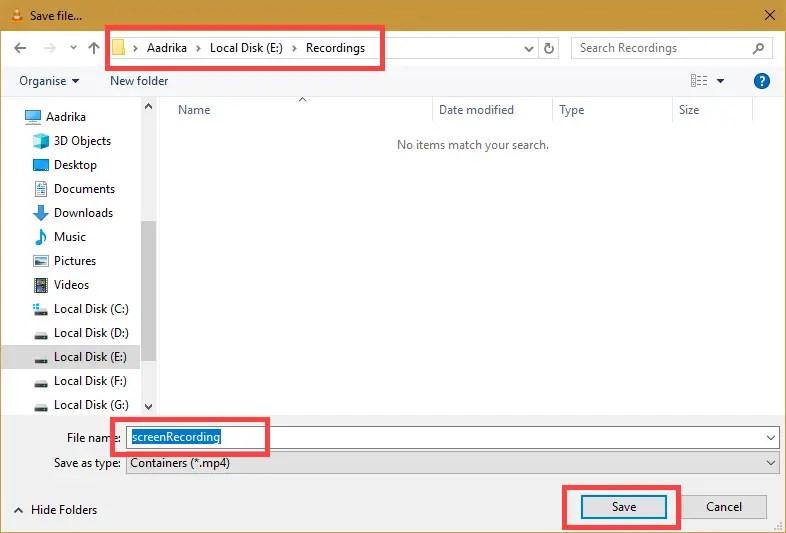 Choose destination, file name, and click Save