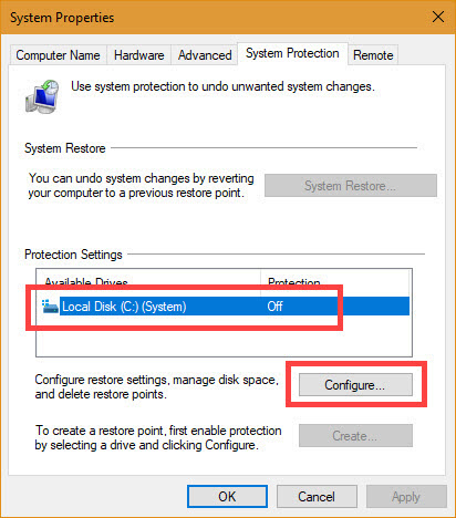 Select C drive and click on the Configure button