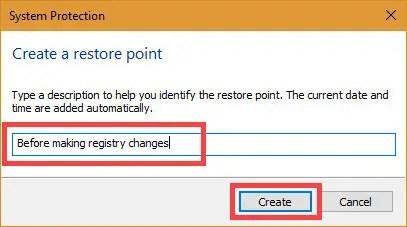 Enter a meaningful restore point description