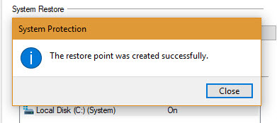 Windows successfully created a system restore point