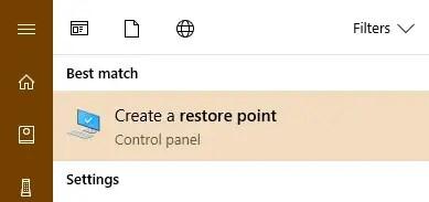 Search for create a restore point in start menu