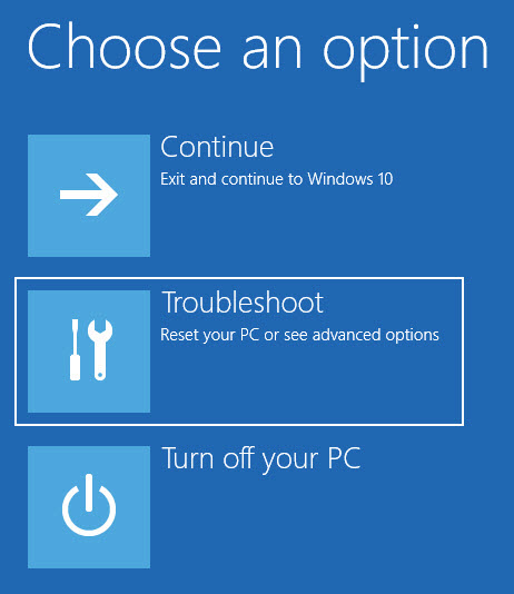 Select Troubleshoot option