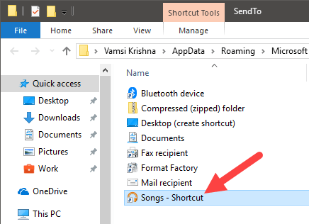 Add folders to send to menu - add folder