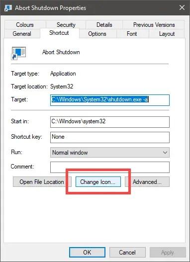 Cancel shutdown click change icon button