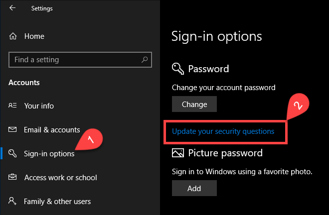 Change security questions - click update link