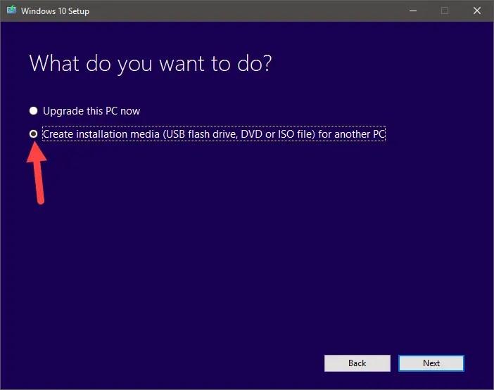Download windows 10 iso - select create installation media