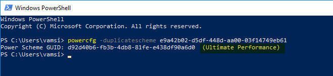 Enable ultimate performance mode - execute powershell command