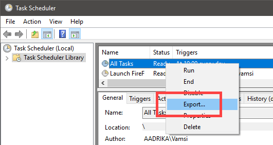 Rename scheduled task - export scheduled task