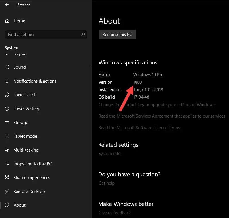 Windows 10 version number - version number in settings app