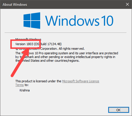 Windows 10 version number - winver
